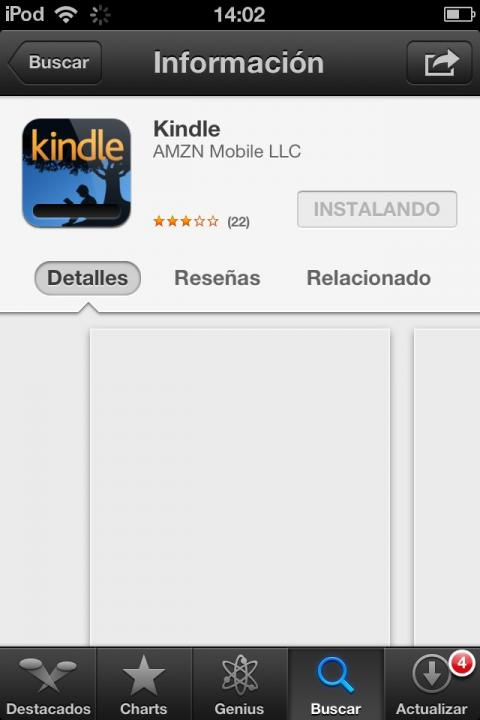 interfaz apple store para dscargar kindle