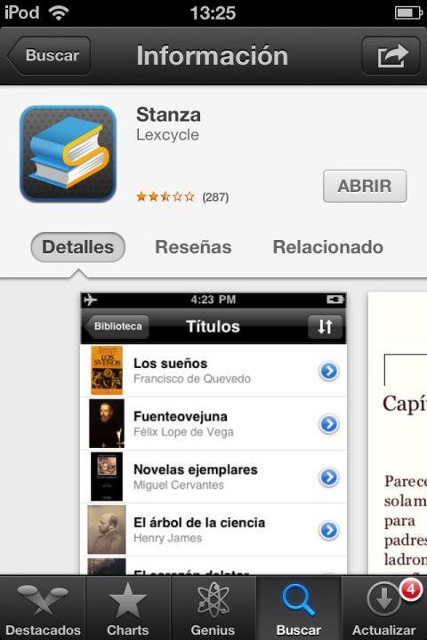 interfaz para descargar stanza en apple store
