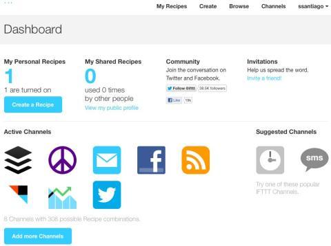 Interfaz de Dashboard de IFTTT