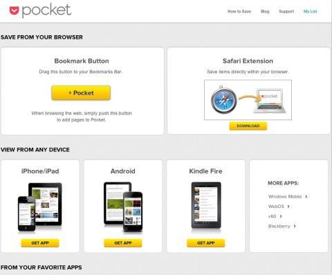 Interfaz de descarga de extension Pocket