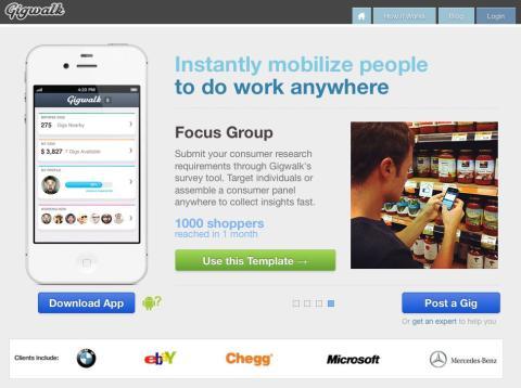 Interfaz inicio web Gigwalk