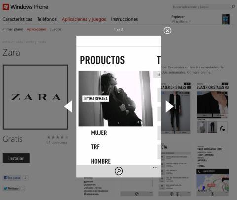 Interfaz app Zara en Apple Store