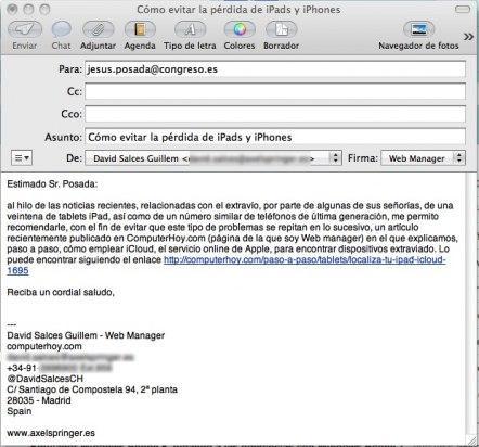 Email de David Salces, de ComputerHoy.com, a Jesus Posada, Presidente del Congreso