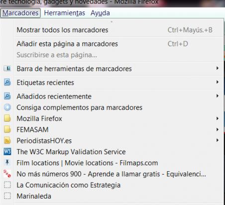 Menú marcadores en Firefox