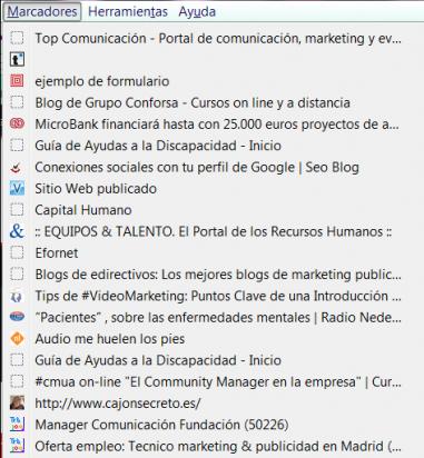 Lista de marcadores en Firefox
