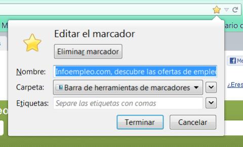 Recuadro de edición de marcador en Firefox