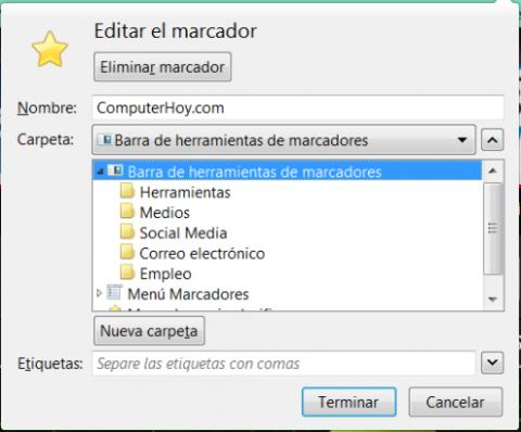 Cuadro de selección de carpetas de marcadores en Firefox