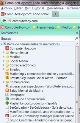 Barra lateral de marcadores en Firefox