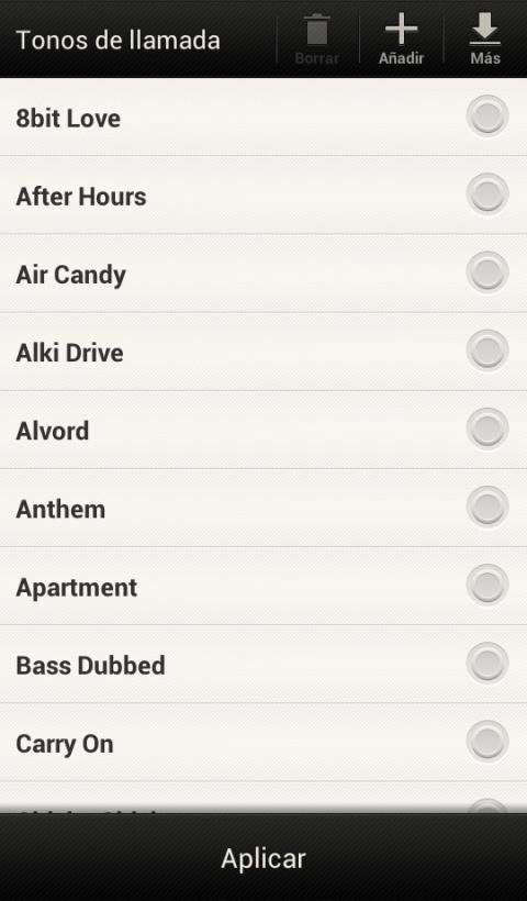 Android incluye numerosos tonos predeterminados