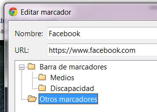 Edición de marcador en Google Chrome