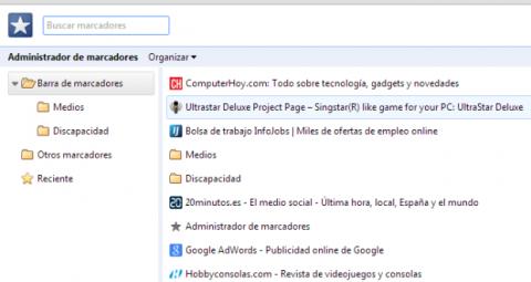 Pestaña de edición de marcadores en Google Chrome