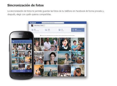sincronizacion fotos facebook