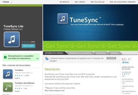 Puedes probar la versión lite de TuneSync