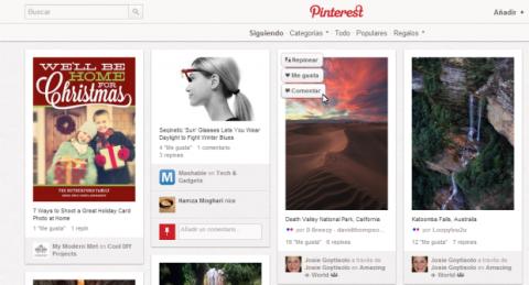 Acciones de portada en Pinterest