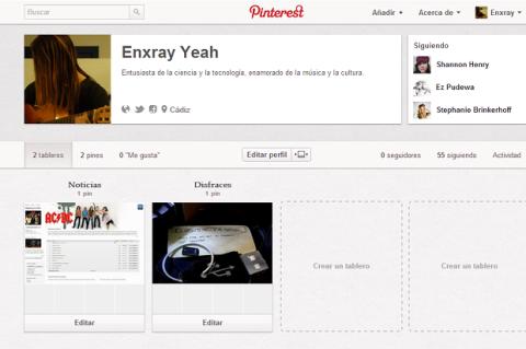 Página de Perfil en Pinterest