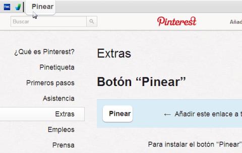 Botón bookmarklet Pinterest