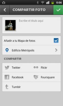 Opción compartir foto Instagram