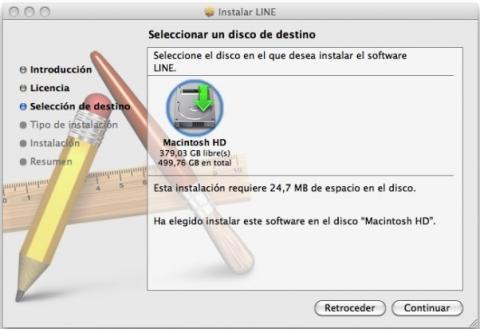 Asistente de instalación de Line para Mac OS X