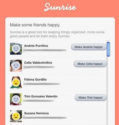 Selección de contactos para Sunrise