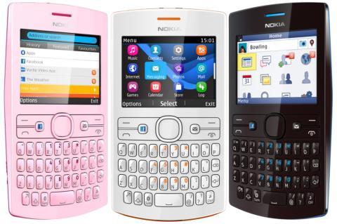Nokia Asha 205 con botón de Facebook.
