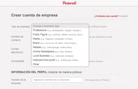 Registrar empresa Pinterest
