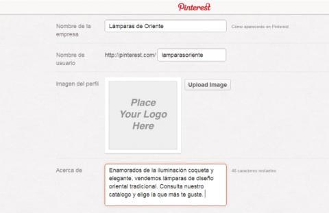 Añade información sobre tu empresa en Pinterest