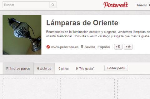 Interfaz perfil corporativo en Pinterest