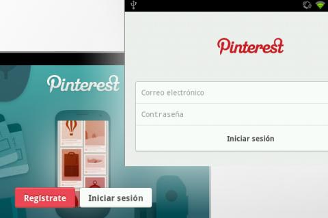 Pantalla registro app Pinterest