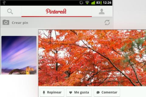Interfaz app Pinterest