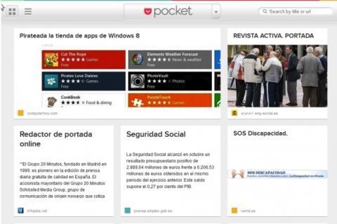 Páginas guardadas en Pocket