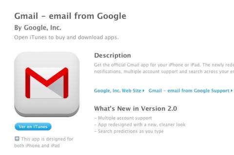 actualizacion app gmail iOS