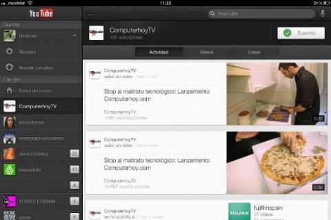 Interfaz  app YouTube iPad
