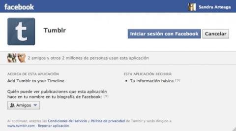 Sincroniza tu cuenta de Facebook con Tumblr