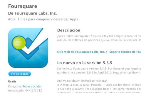 actualizacion app foursquare iOS