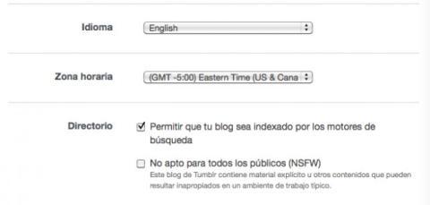 Ajusta las opciones de tu blog en Tumblr