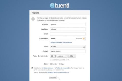 Regístrate en Tuenti a través del formulario