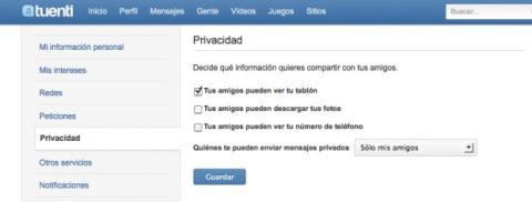 Configura la privacidad en Tuenti