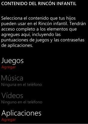 Acceso a la configuración del rincón infantil de Windows Phone 8