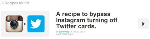 encuentrar receta de Twitter e Instagram por buscador IFTTT