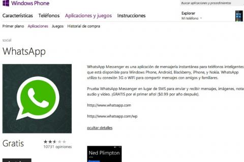 Whatsapp para Windows Phone 8 ya está disponible