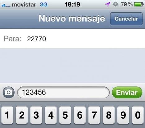 Mensaje SMS para configurar la clave de acceso a Segunda Línea de Movistar