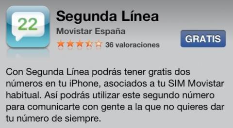 App Segunda Línea de Movistar en la tienda de aplicaciones de iOS