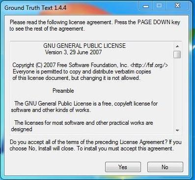 Ventana donde aparece el acuerdo de licencia de Gttext
