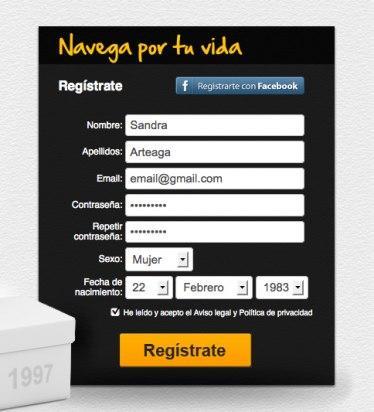 Regístrate en Picyourlife a través del formulario