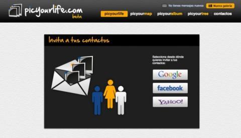 Invita a Picyourlife a tus contactos de Facebook, Google o Yahoo!