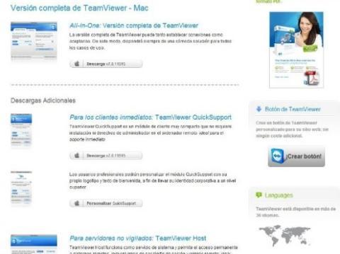 Interfaz de la página web de Teamviewer para descargar en MAC