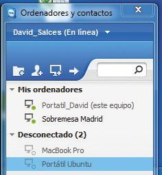 Interfaz de Teamviewer con ordenadores configurados para MAC