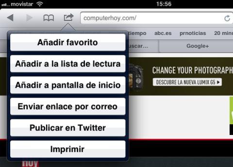 Función de añadir una web a favoritos en Safari para iOS