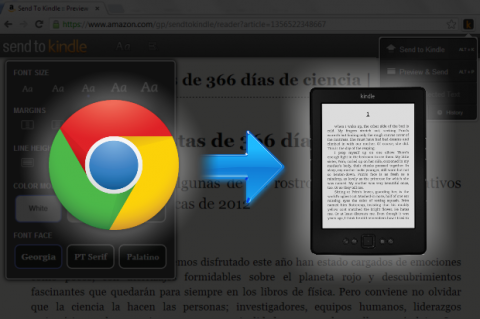 Enviar  páginas web a  Kindle con extensiones para Chrome o Firefox