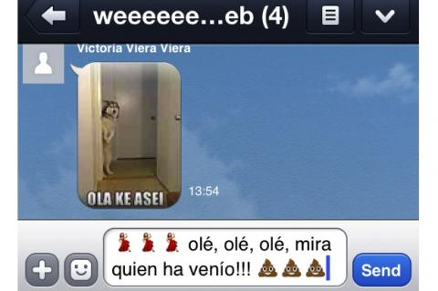 La flamenca de Whatsapp, vista en LINE